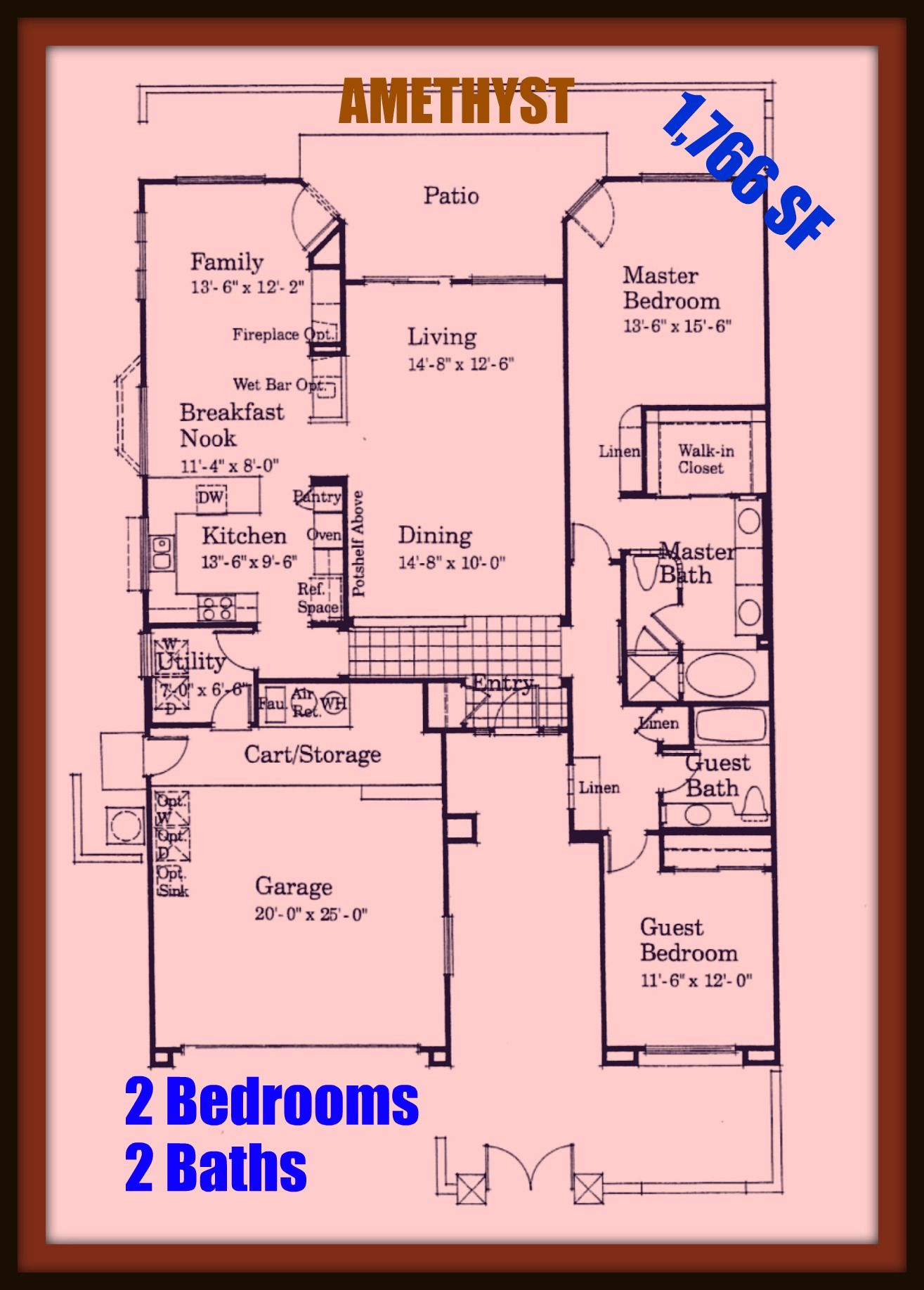 SUN CITY PALM DESERT CA floor plan for the AMETHYST model The #0: ba28d5f0b9594df a7449c5