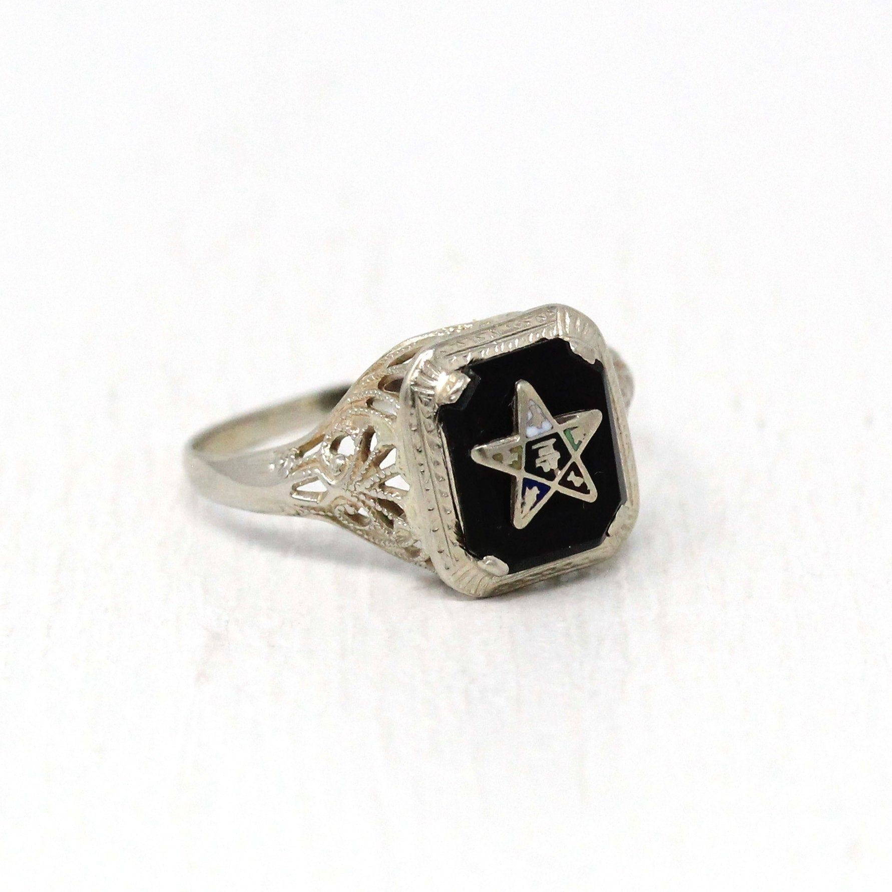 Vintage Eastern Star Ring 10k White Gold Art Deco Onyx Order Etsy In 2020 Gold Art Deco Gold Art Filigree Jewelry
