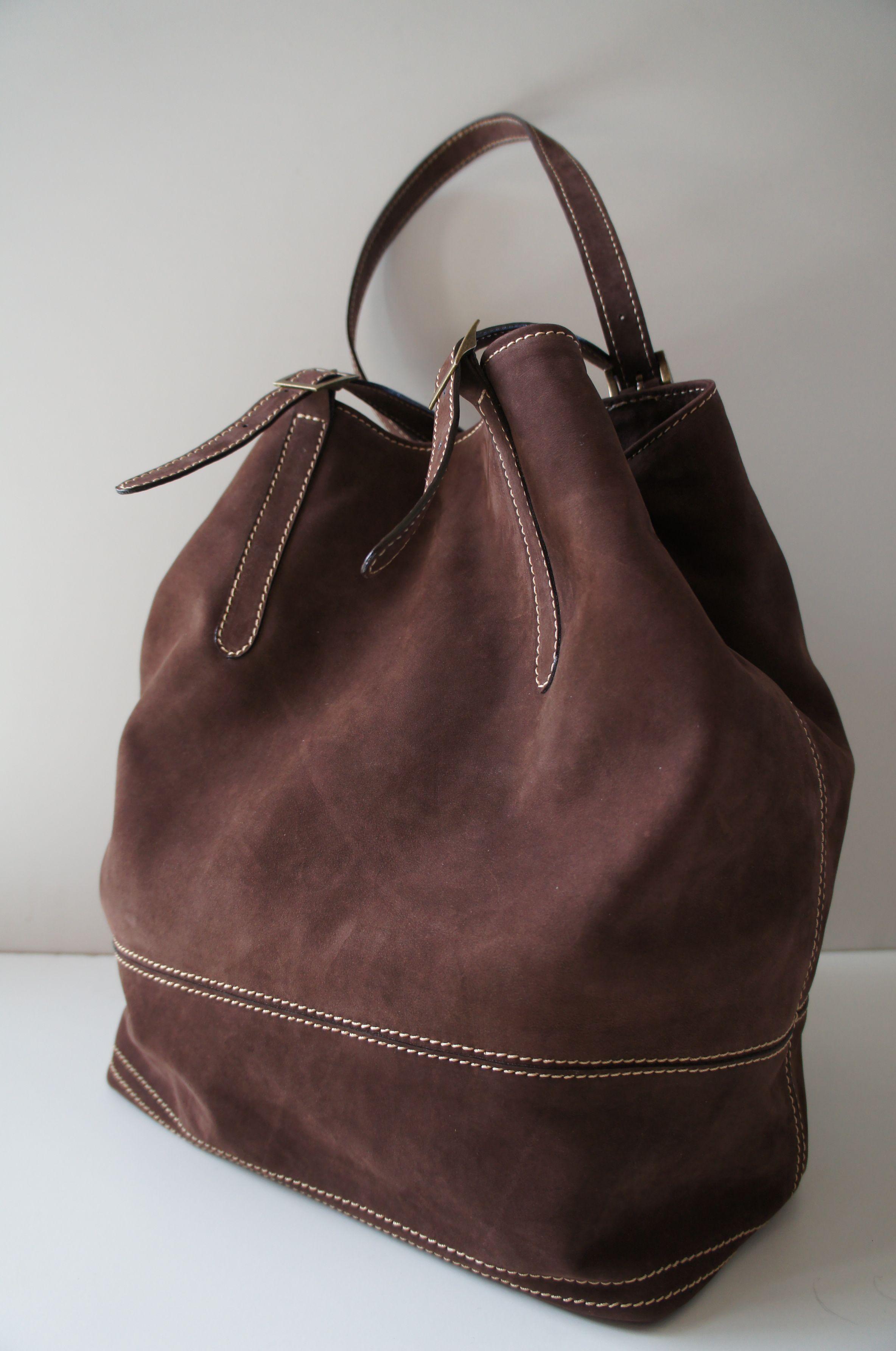 9ee93cee6 Bolso de gamuza de cuero chocolate. Asas ajuatables | bags | Bags ...