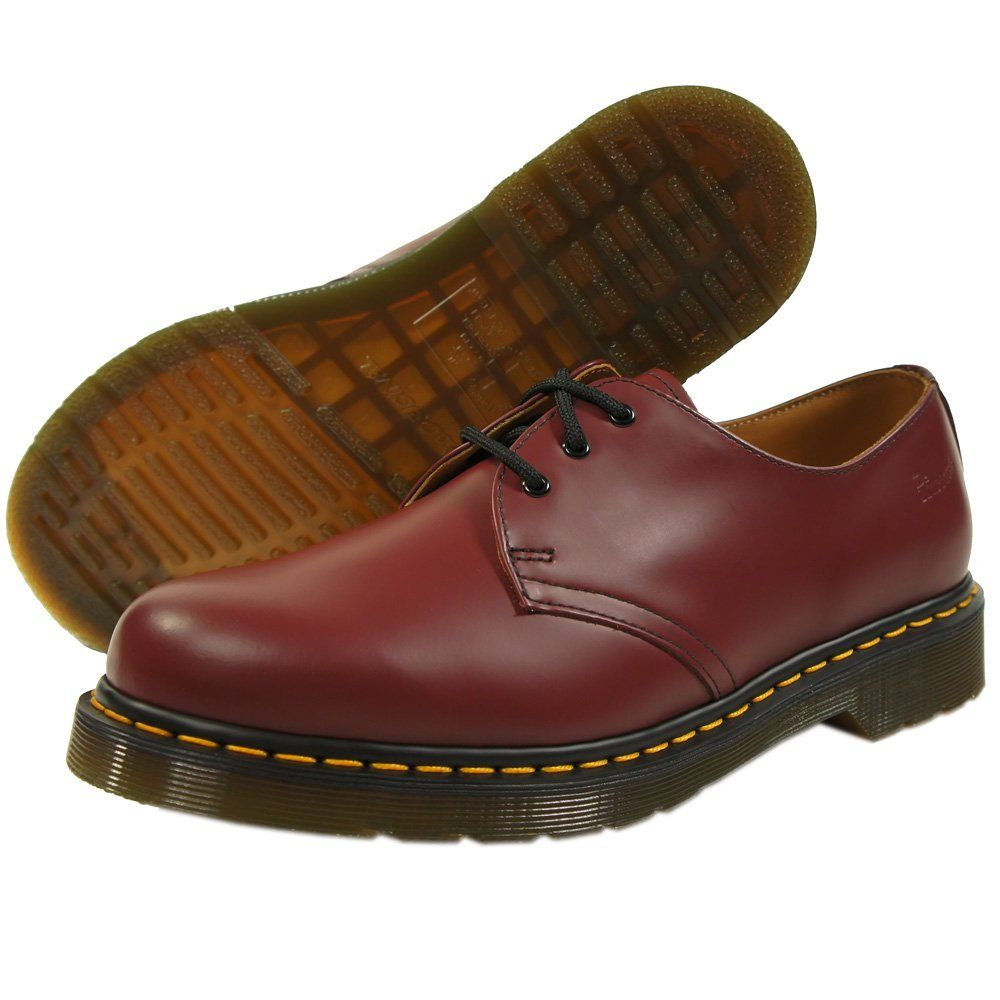 Doc Martens Cherry Red 3 Eyelet 1461 Mens Shoe with Contrast Yellow  Stitching