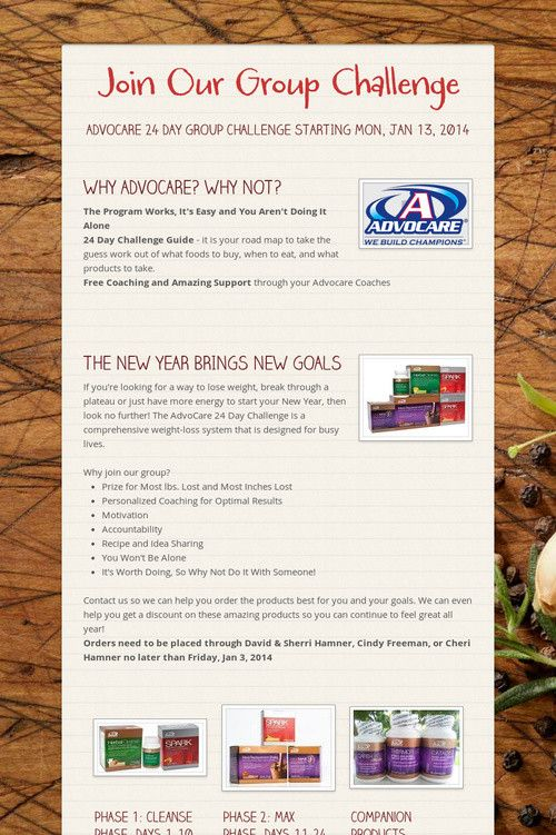 Join Our Group Challenge AdvoCare 24 Day Challenge wwwadvocare - 24 day challenge guide