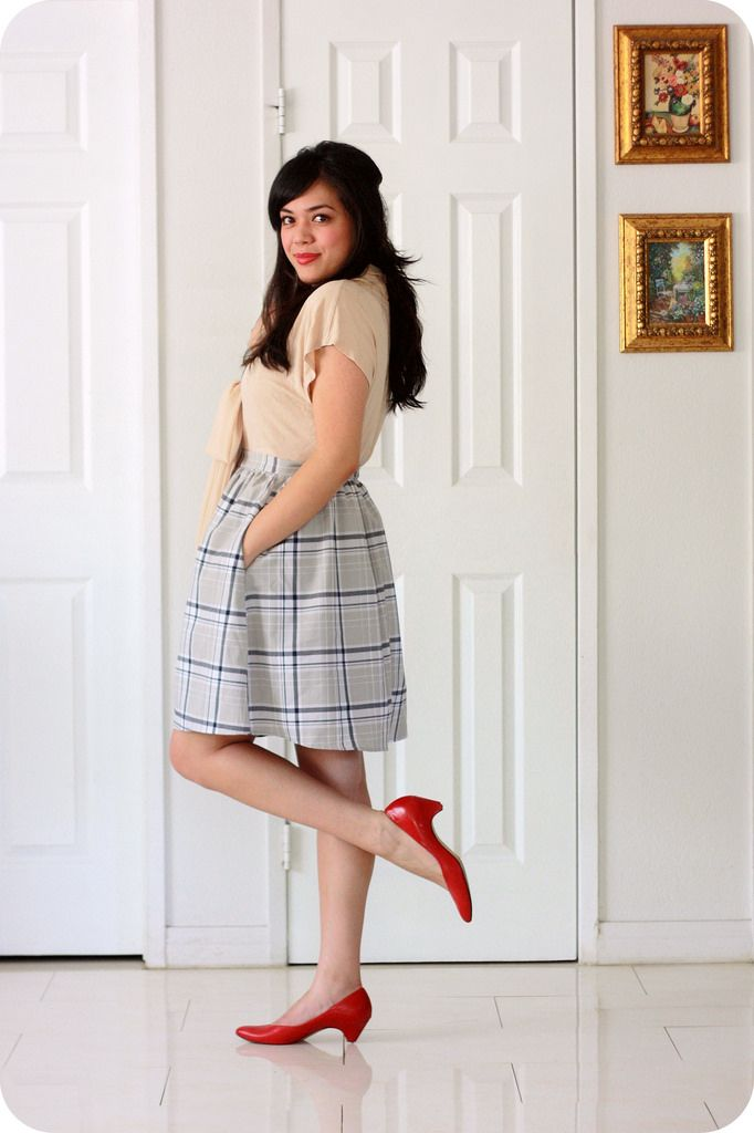 f7b8911cf Sweets and Hearts fashion and style: outfit featuring ASOS nude bow blouse,  Fleet Collection gray plaid skirt, vintage croc satchel, vintage red pumps,  ...