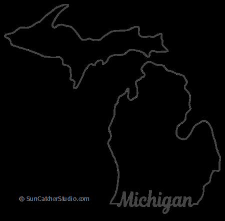 Michigan Map Outline Printable State Shape Stencil Pattern Michigan Outline Map Of Michigan Michigan Art