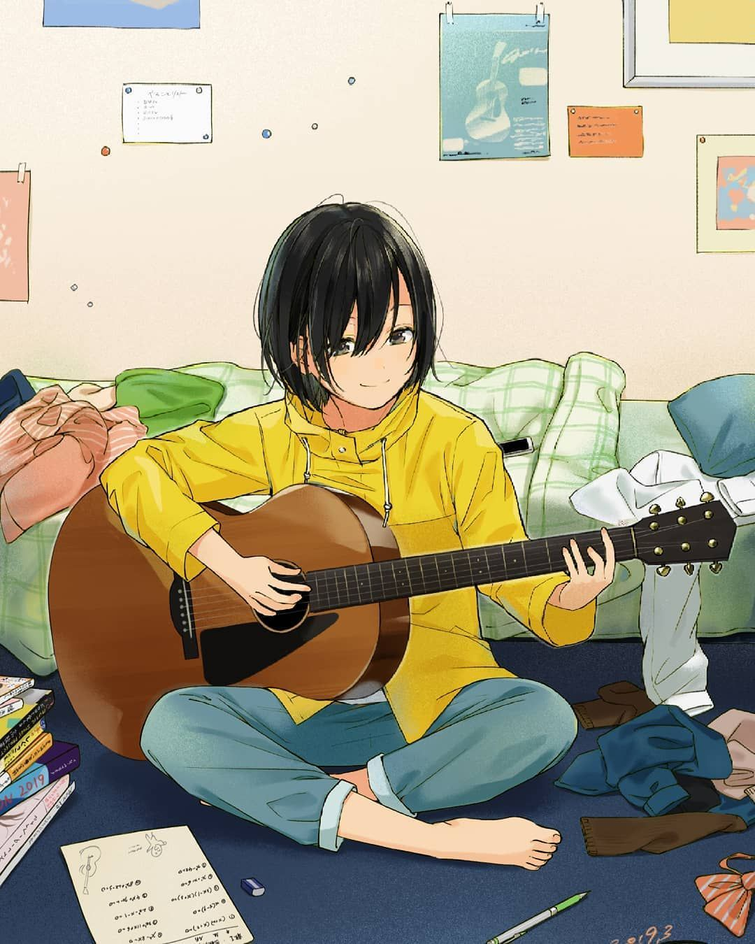 Anime Animegirl Animeart Guitar Animeguitar Kawaii Cute Kawaiigirl Cutegirl Anime Animegirl Animeart Ilustrasi Karakter Ilustrasi Komik Ilustrasi