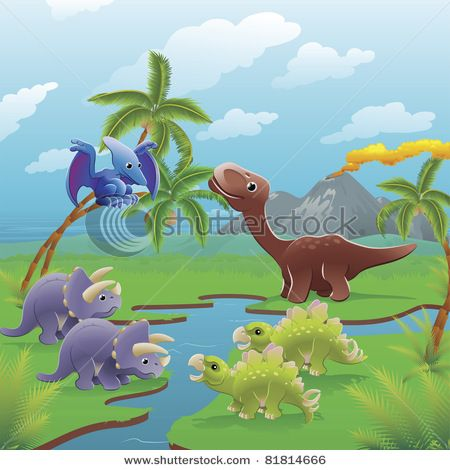 Stock Images Similar To Id 130694288 Cute Dinosaurs In Prehistoric Dinosaur Images Dinosaur Clip Art Scene Art