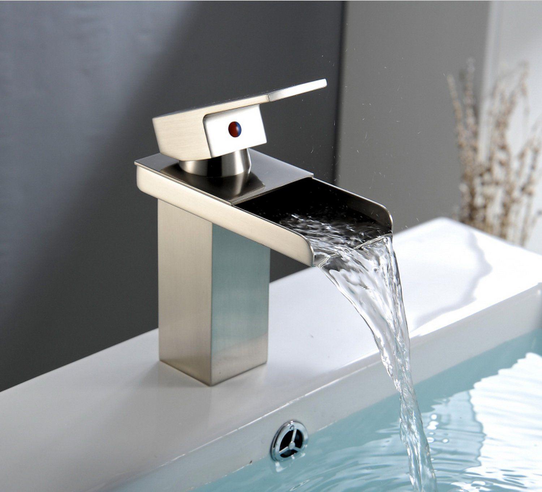 Waterfall bathroom sink - Aquafaucet Nickel Brushed Waterfall Bathroom Sink Vessel Faucet Lavatory Mixer Tap Open Channel Water Spout