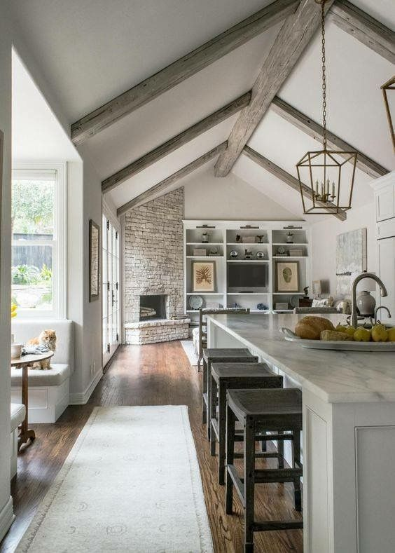 Love The Ceiling And All The Light Vaulted Ceiling Kitchen Contemporary Kitchen Remodel White Contemporary Kitchen