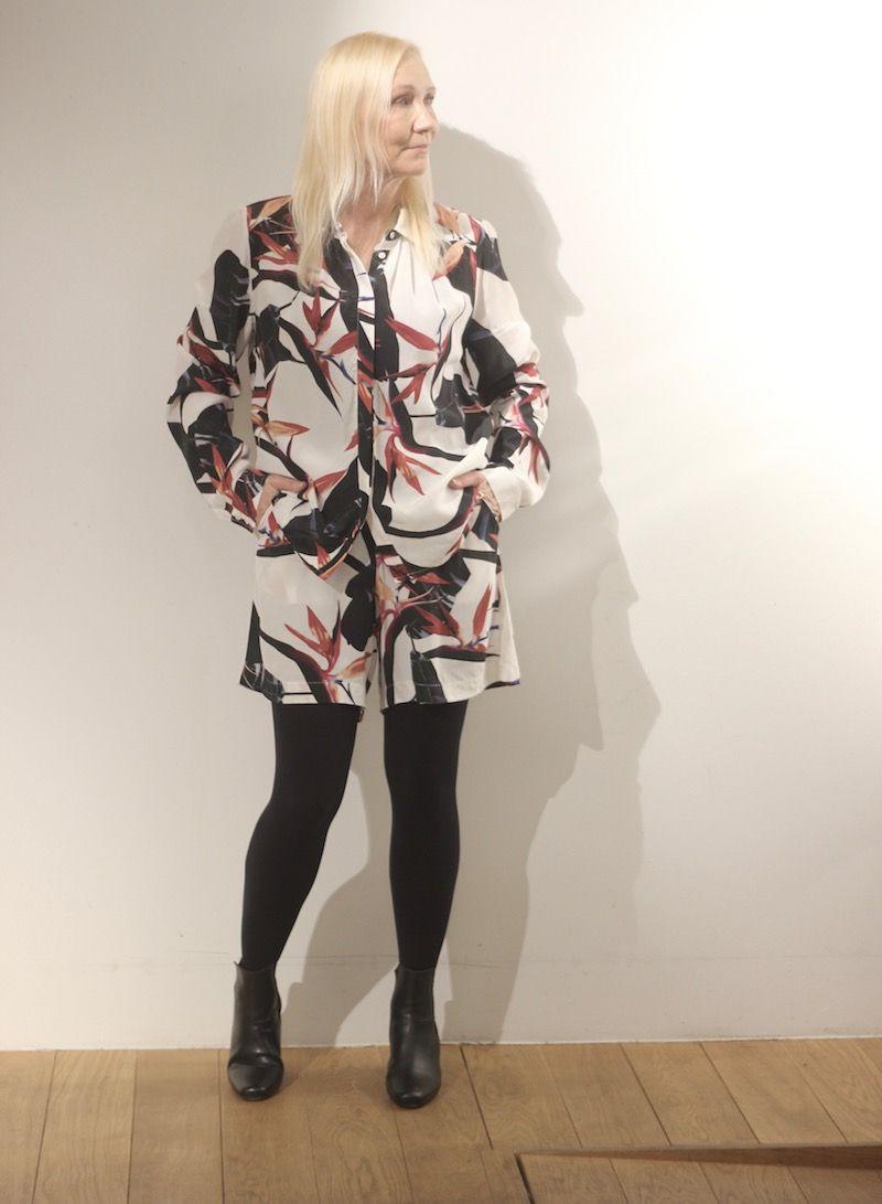Sara wearing shirt and shorts in matching print. Black Swan Fashion SS17