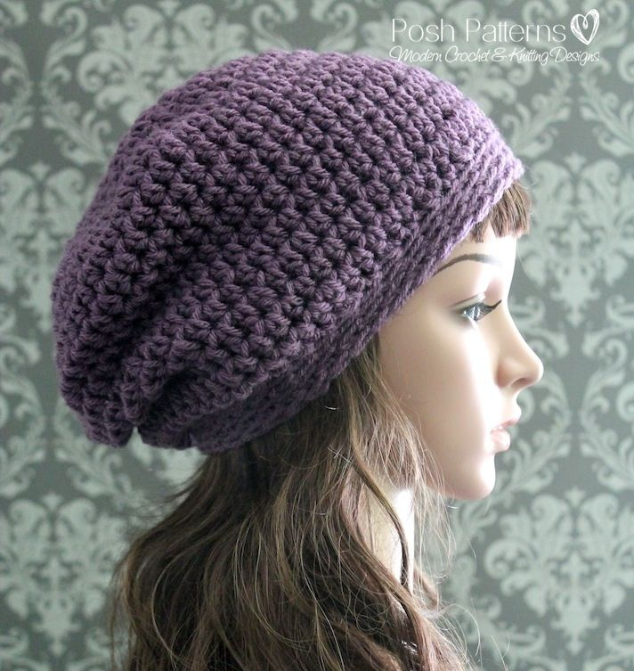 Crochet Pattern Easy Crochet Slouchy Hat Pattern Pdf Crochet