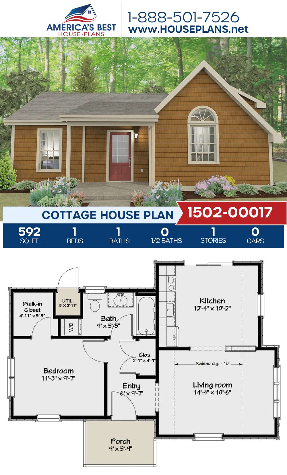Complete with 592 sq. ft., Plan 1502-00017 details a Cottage home design with 1 bedroom, 1 bathroom, and an open floor plan. #cottagehouse #cottagehome #openfloorplan #architecture #houseplans #housedesign #homedesign #homedesigns #architecturalplans #newconstruction #floorplans #dreamhome #dreamhouseplans #abhouseplans #besthouseplans #newhome #newhouse #homesweethome #buildingahome #buildahome #residentialplans #residentialhome