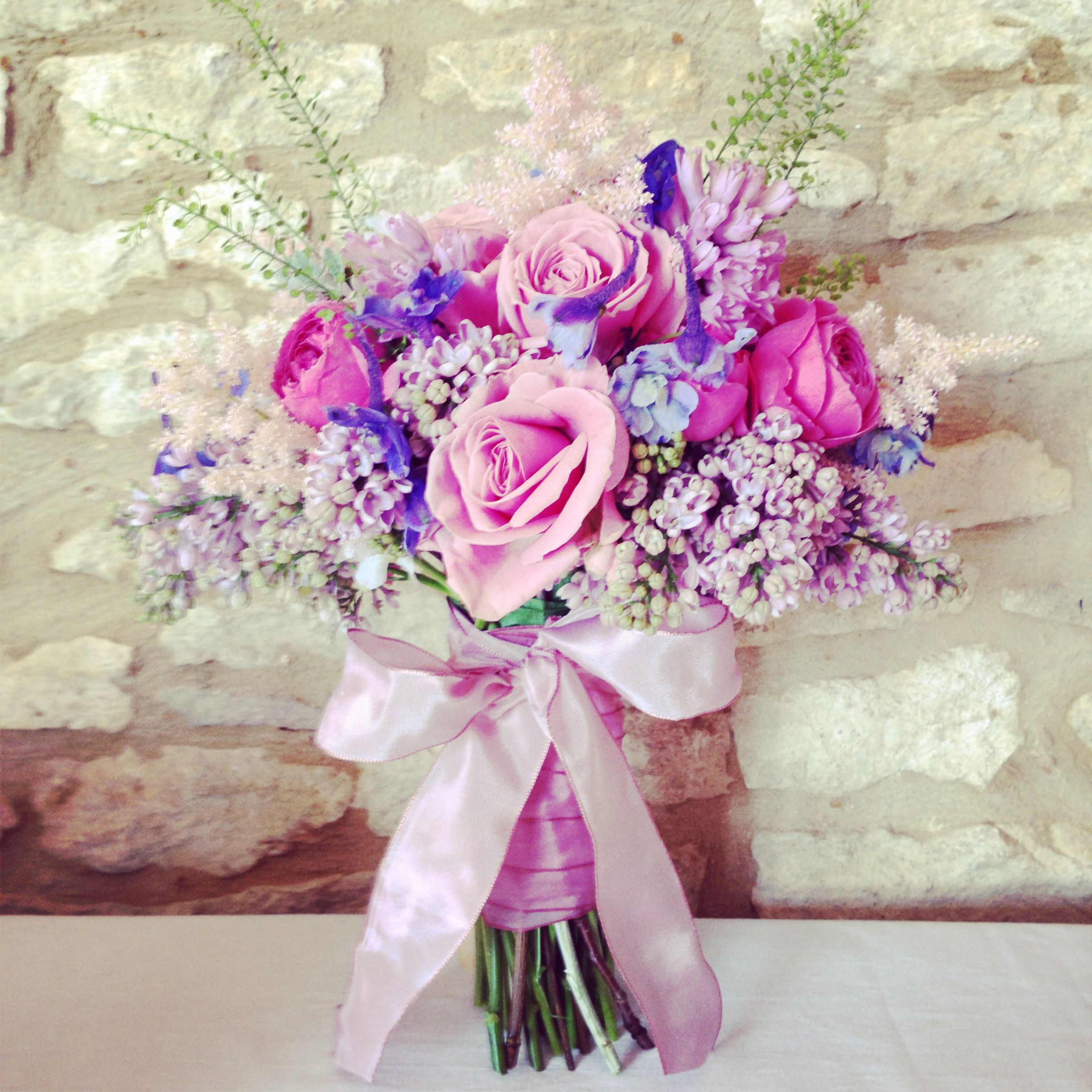 Pink, lilac and blue bouquet by Foxgloves Roses. | mirese ...