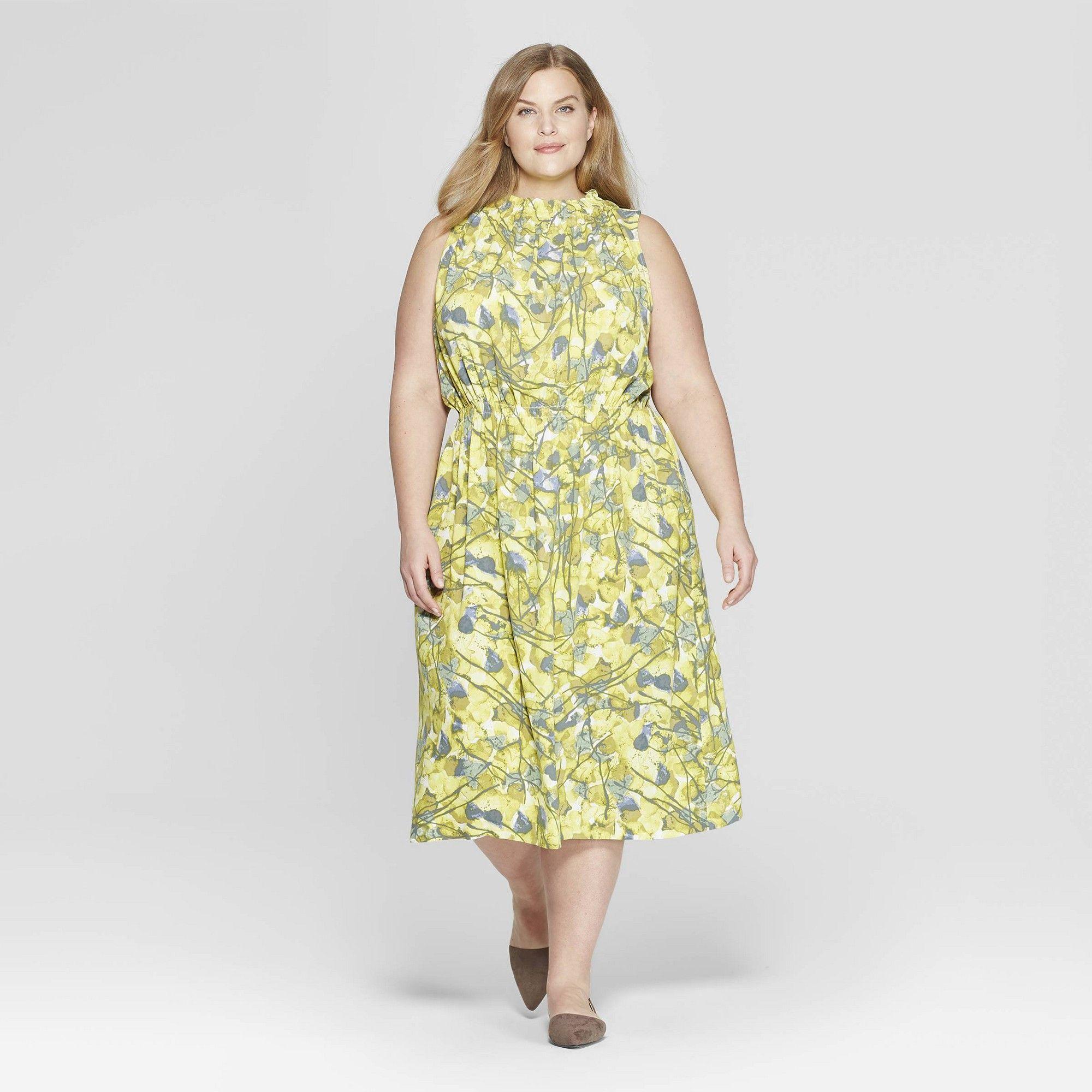 cd410220e72ba Women s Plus Size Floral Print Sleeveless Turtle Neck Dress - Prologue White  1X