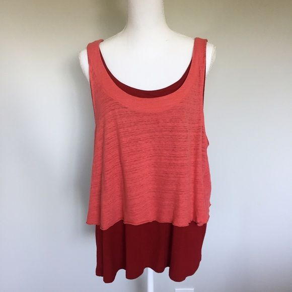 Anthropologie C. Keer Coral Red Layered Tank Anthropologie C. Keer  Coral Red Cute Back Layered Tank Top XL  Pre-owned, in very good condition, no flaws. Outer layer: 50% Cotton and 50% Linen Inner layer: 100% Viscose, unlined. Coral and red layered tank top, scoop neck, tie at back. Stretchy, no zippers or buttons, lovely and comfortable to wear. Anthropologie Tops Tank Tops