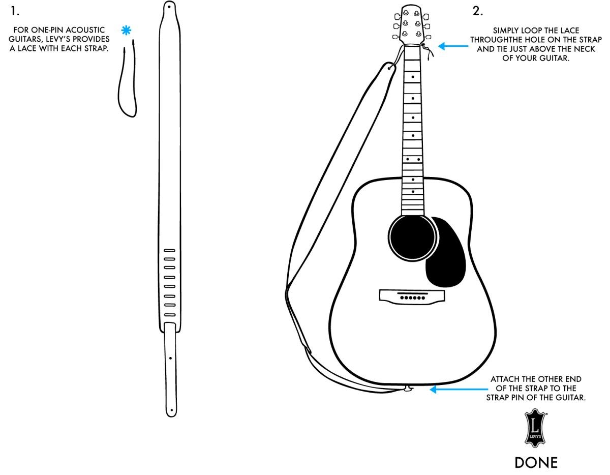 How To Attach A Strap To A Guitar Levy S Leathers Acoustic Guitar Strap Guitar Straps Diy Guitar Tips