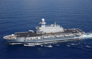 Kalaat Beni Abbes es un muelle de transporte anfibio de la Armada Nacional de Argelia , construida por la firma italiana Fincantieri como una versión ampliada y mejorada de la clase San Giorgio . La nave mide 143 metros de largo y 21,5 metros de ancho. [2] El buque tiene una cubierta de vuelo continuo con dos puntos cubierta-aterrizaje para helicópteros en la proa y en la popa. [