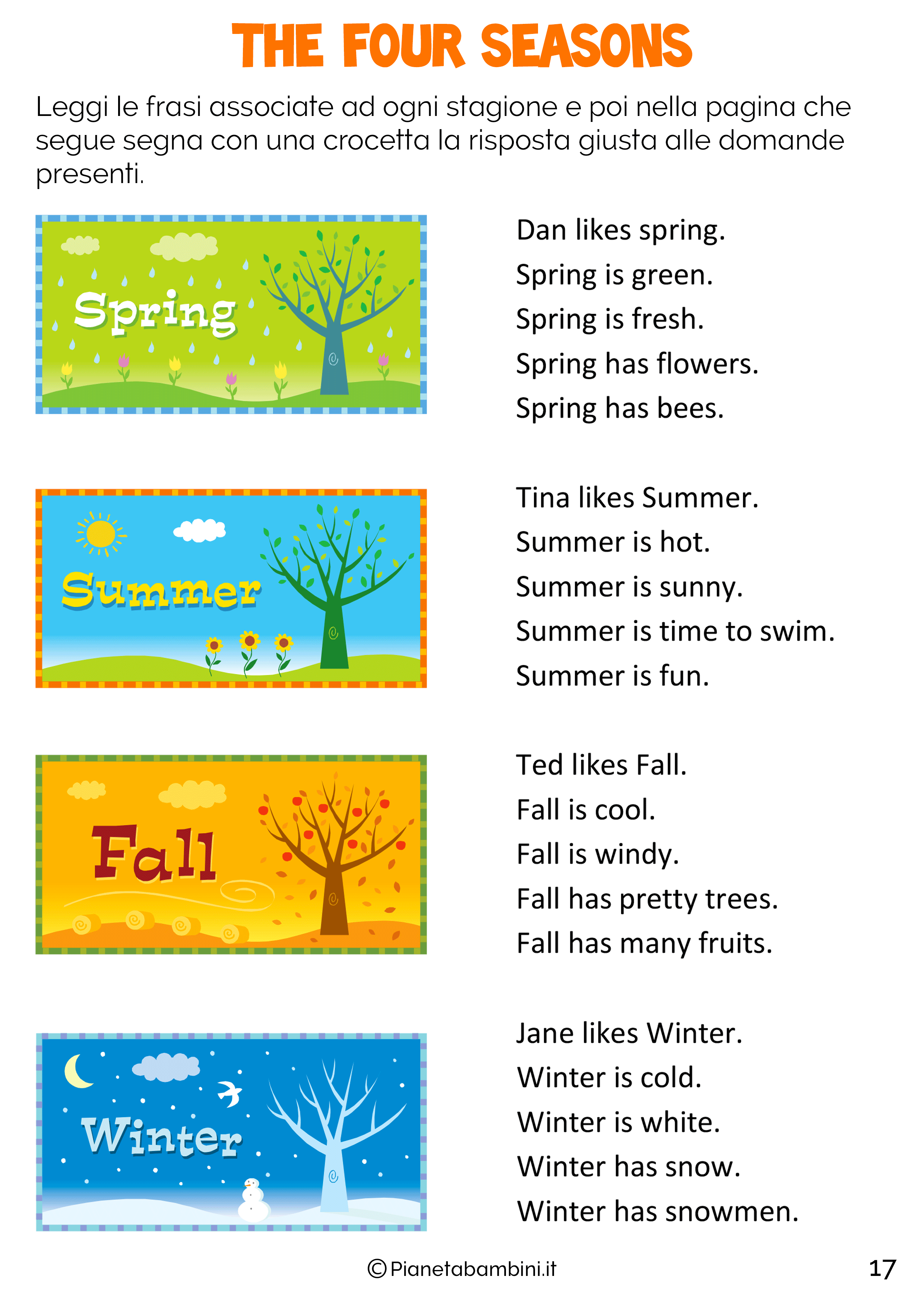 Le Stagioni In Inglese Per Bambini Schede Didattiche Da