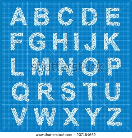 Blueprint style sketch font alphabet vector eps10 under blueprint style sketch font alphabet vector eps10 malvernweather Images