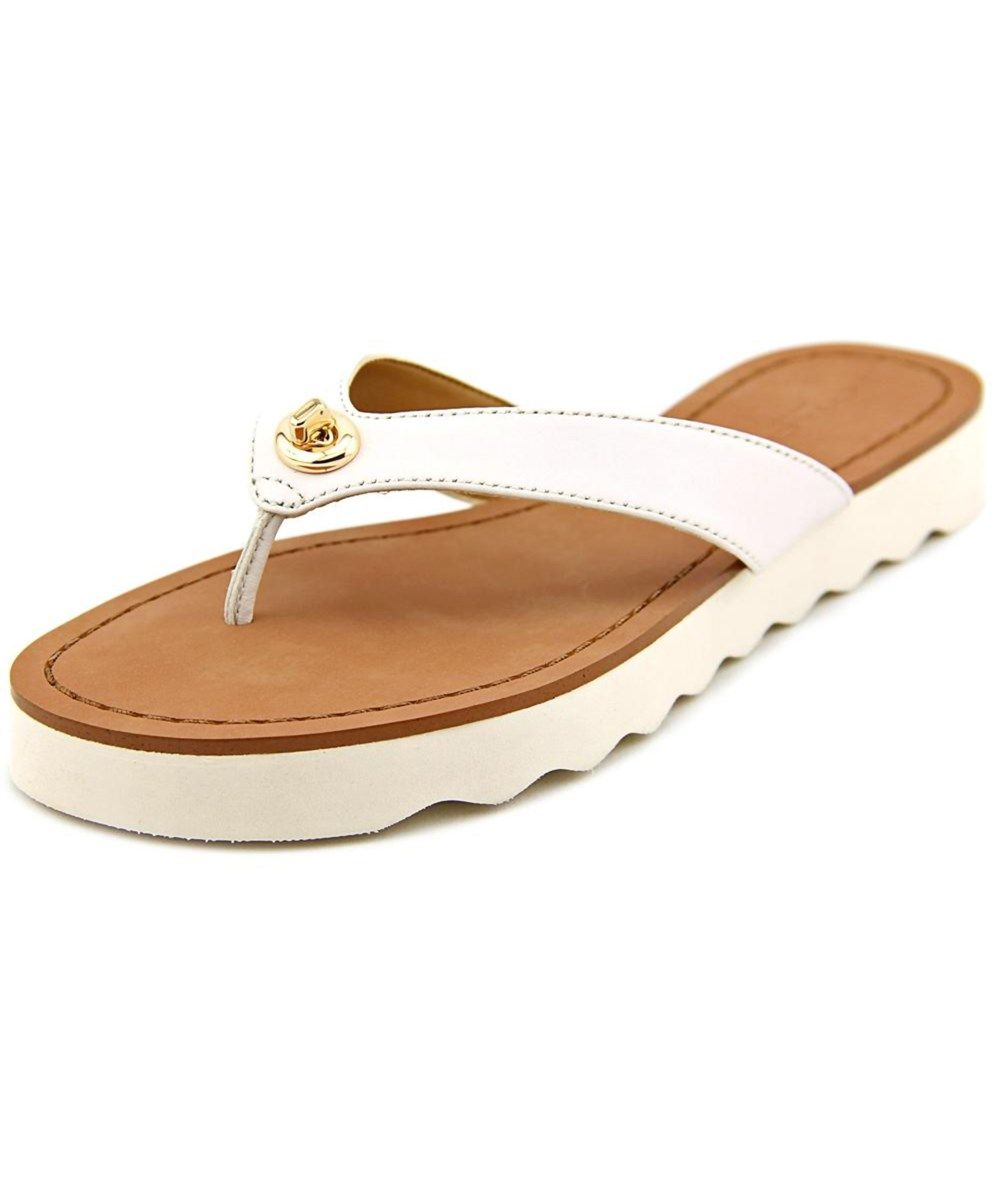 d5bfa9d1c35 COACH Coach Shelly Women Open Toe Leather White Flip Flop Sandal .  coach   shoes  sandals