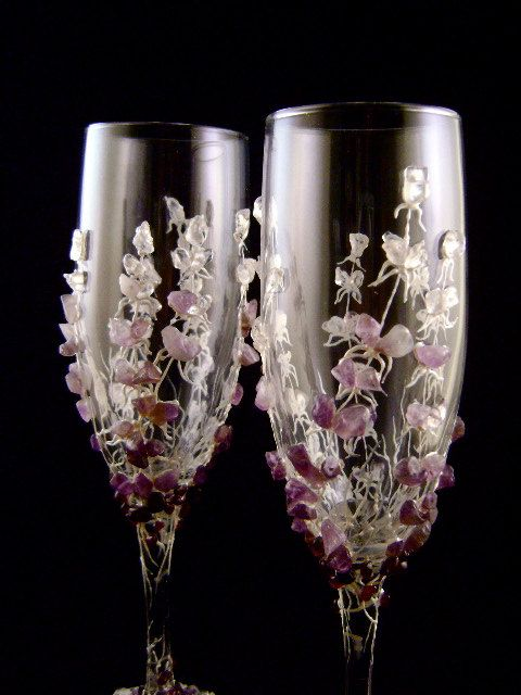 Pretty Purple Maroon And Lavendar Stones Decorate Champagne Wedding Flutes I Really Like These