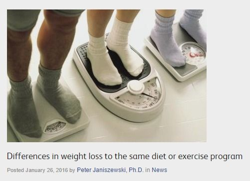 Differences in weight loss to the same diet or exercise program | Obesity Panacea