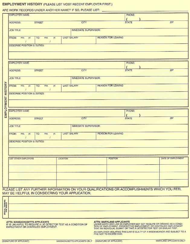 ClaireS Employment Application Form  Printable Online Page
