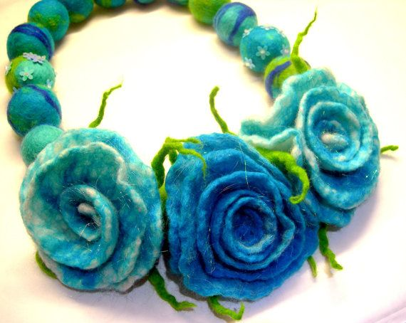 Felted Flower Hand Felted Wool Jewelry felted NECKLACE by SkyWool, $23.99