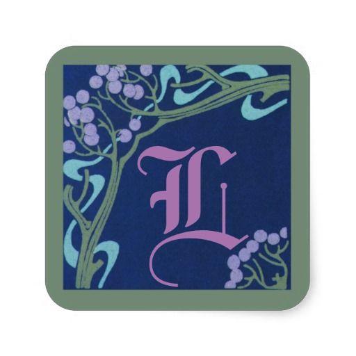 Capital Letter L Art Nouveau Stickers by Janz