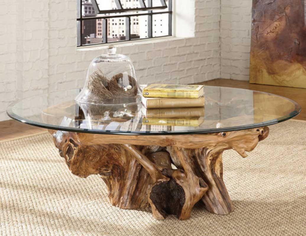 Tree Stump Coffee Table Innovation Decoration Kayu