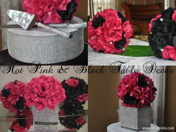 Large Black And Fuchsia Hot Pink Rose Centerpiece Pomander