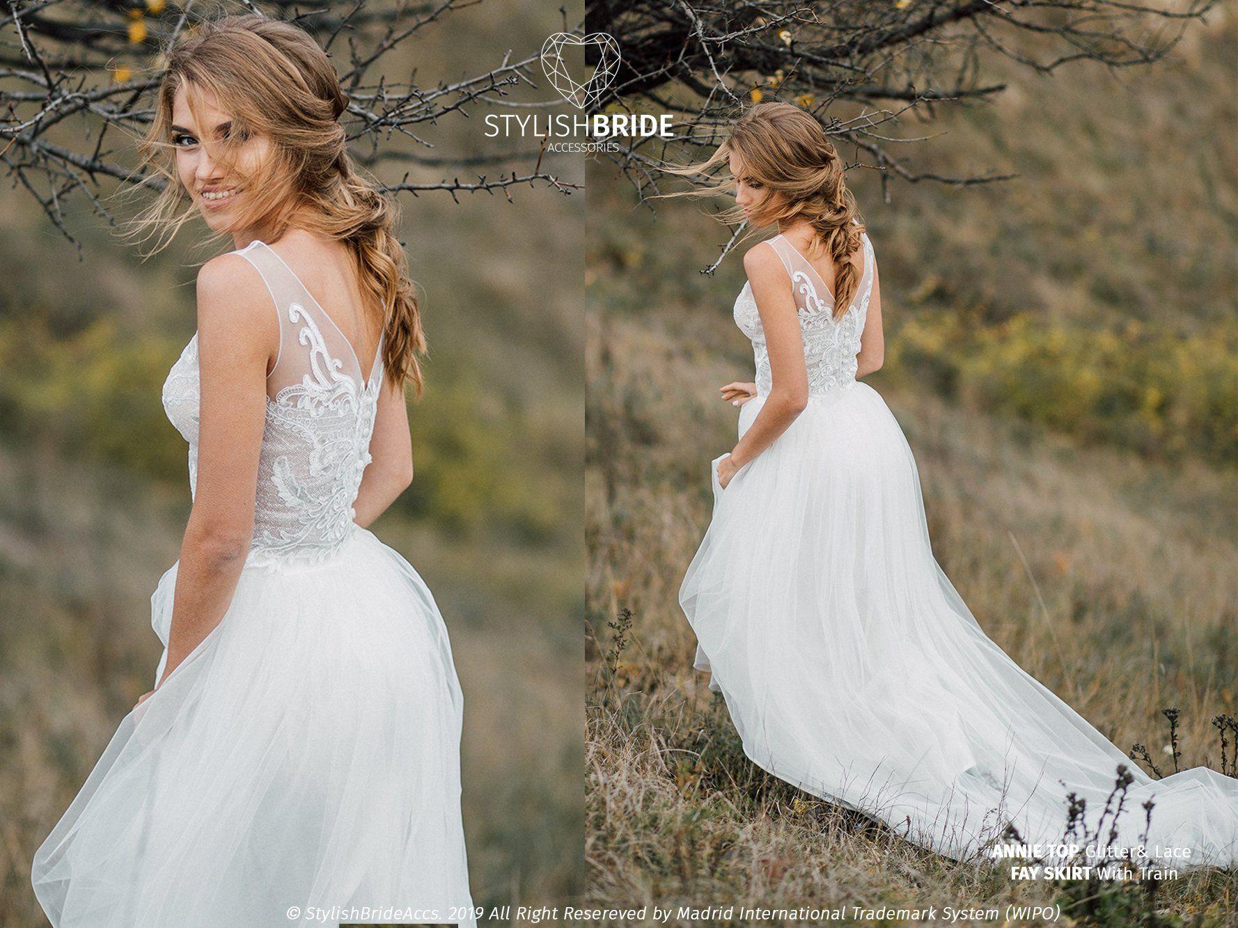 Sleeveless Glitter Annie Boho Wedding Dress, Glitter and