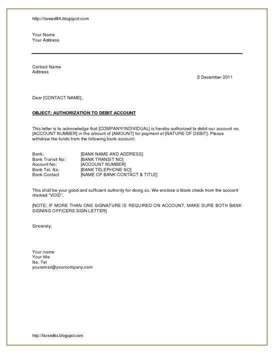 authorization debit account pdfsr letter Home Design Idea - debit note sample