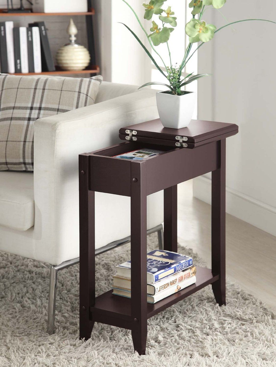 Smile Convenience Concepts 7105059 Es Modern American Heritage Flip Top End Table Small Entertainment Stand