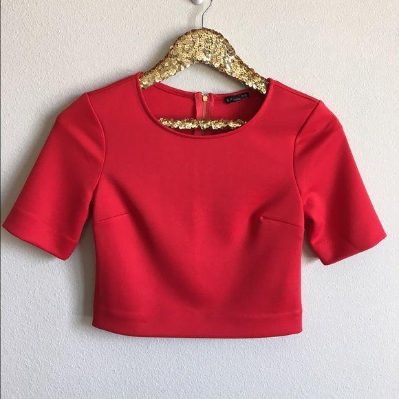 041d3dea841 NWT Express Red Crop Top Short sleeved dressy crop top from Express ...