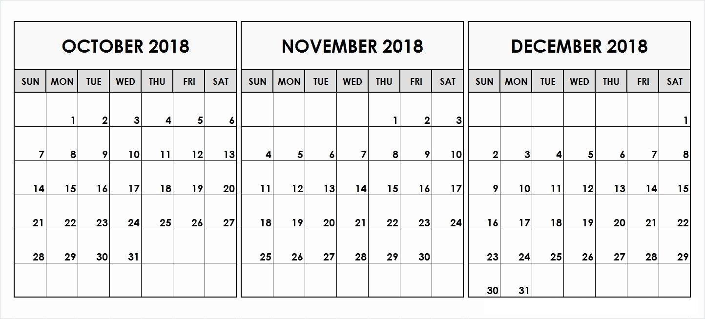 October And November 2018 Calendar Word Excel Pdf Page December