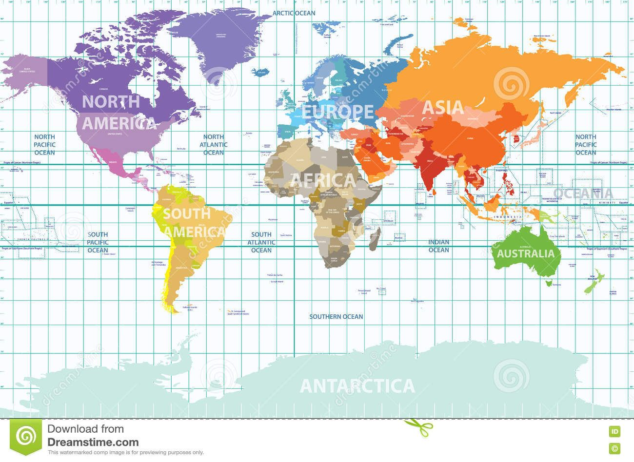 Political World Map Of The World Colored By Continents Stock - Map of world continents and countries