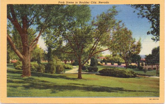 Boulder City Nevada Park Linen Postcard Unused B1 Boulder City Bouldering Vintage Linens