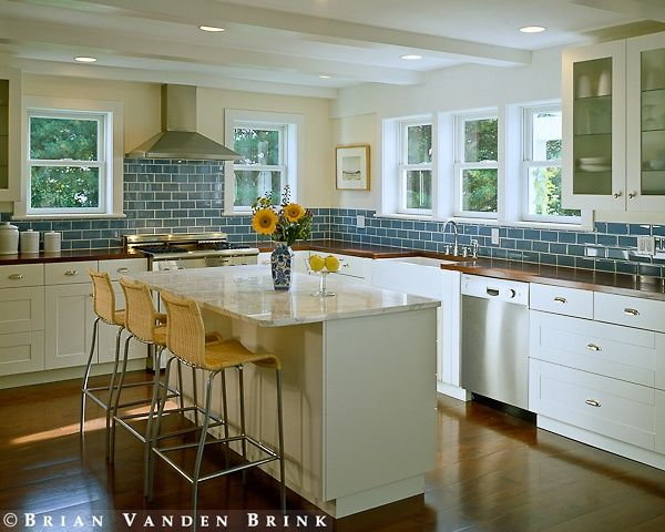 Butcher block counter tops in blue and white kitchen for Blue and white kitchen ideas