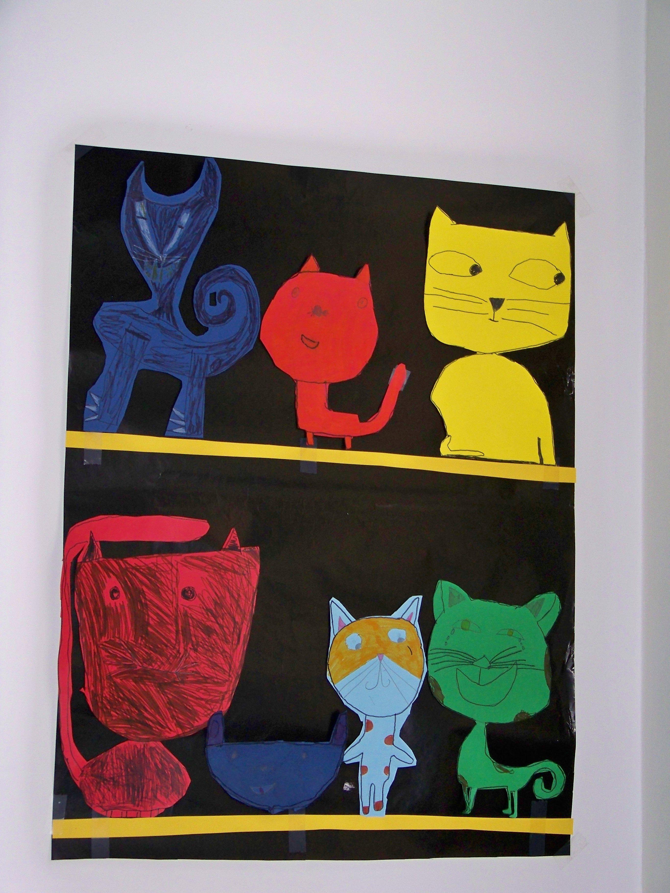 collection de chats en découpage collage