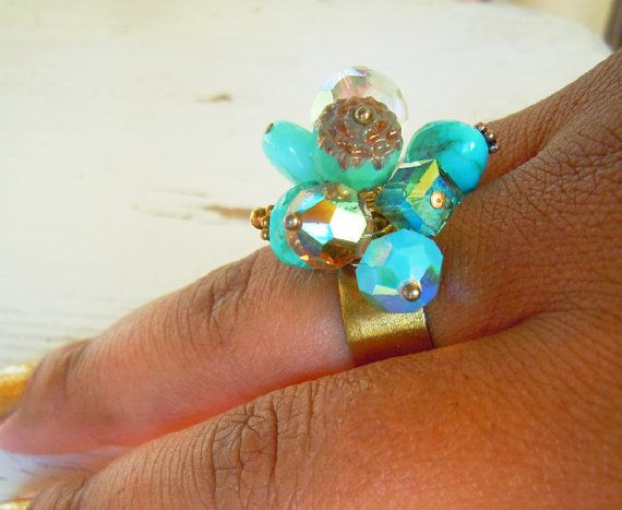 Calypso Turquoise Cluster Ring  Opal  Chalcedony  by NaturalGlam, $49.00