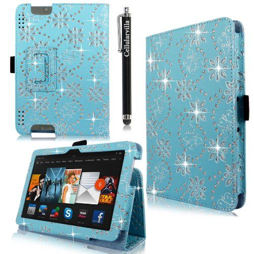 "Cellularvilla Case for Amazon Kindle Fire HDX 7"" Inch Pu Leather Baby Blue Glitter Flip Folio Stand Case Cover + Stylus Touch Pen CellularVilla"