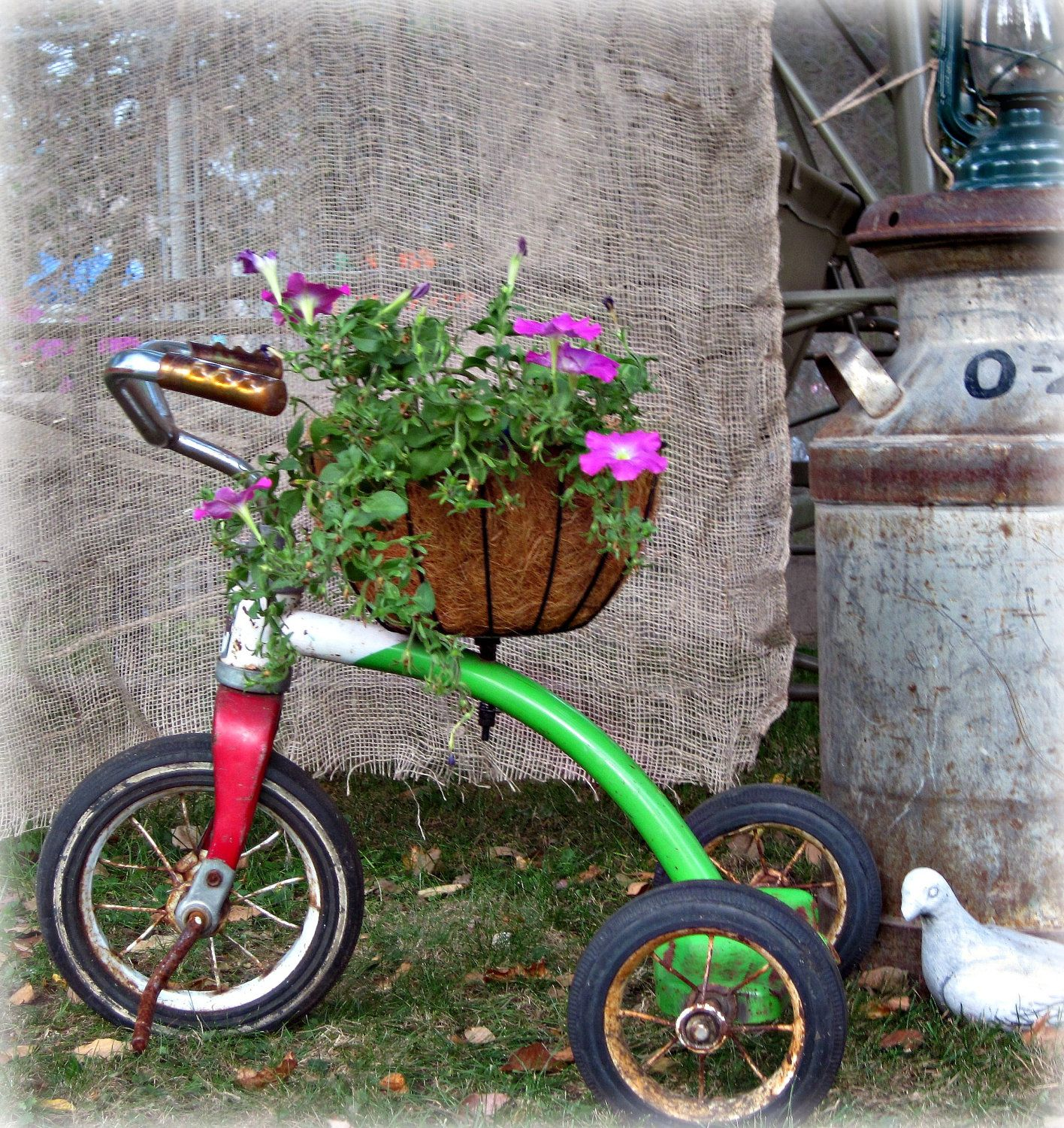 Vintage Tricycle Planter Plant Holderyard By Reclaimedgrace
