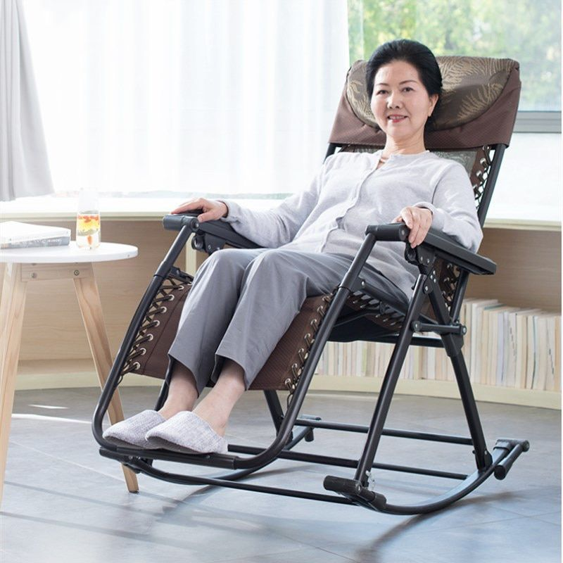 Senior Rocking Chair High Back Armchair With Headrest For Elderly Portable Chaise Lounge Versatile Garden O Lounge Chair Outdoor Rocking Chair Rocking Armchair