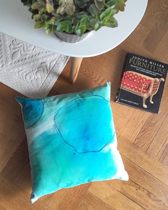 "Hand-painted pillow, unique cotton cushion in blue and green tones, original design, 48x48cm, 19x19"" (cover only)"