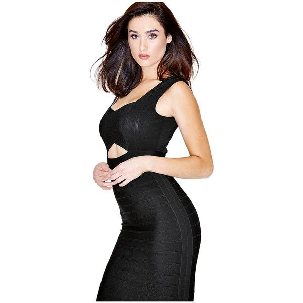 GUESS by Marciano Lisette Bandage Dress (€175) ❤ liked on Polyvore featuring dresses, jet black, bandage dress, guess by marciano dress, special occasion dresses, evening dresses and bandage cocktail dresses