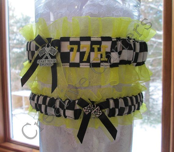 Personalized Embroidered Racing inspired wedding garter set with checkered flags charms