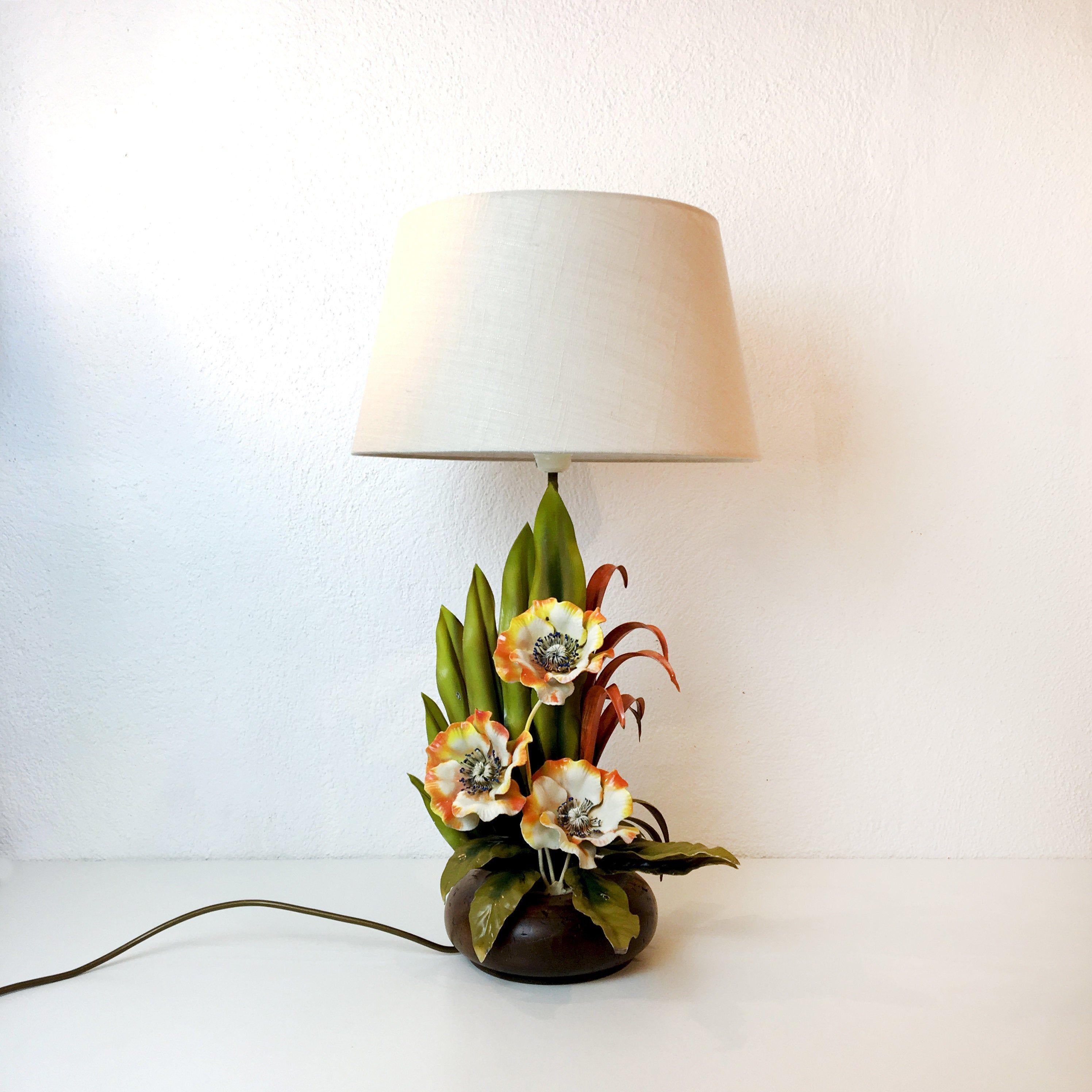 Beautiful Vintage Florentine Metal Lamp Flower Lamp Floor Lamp