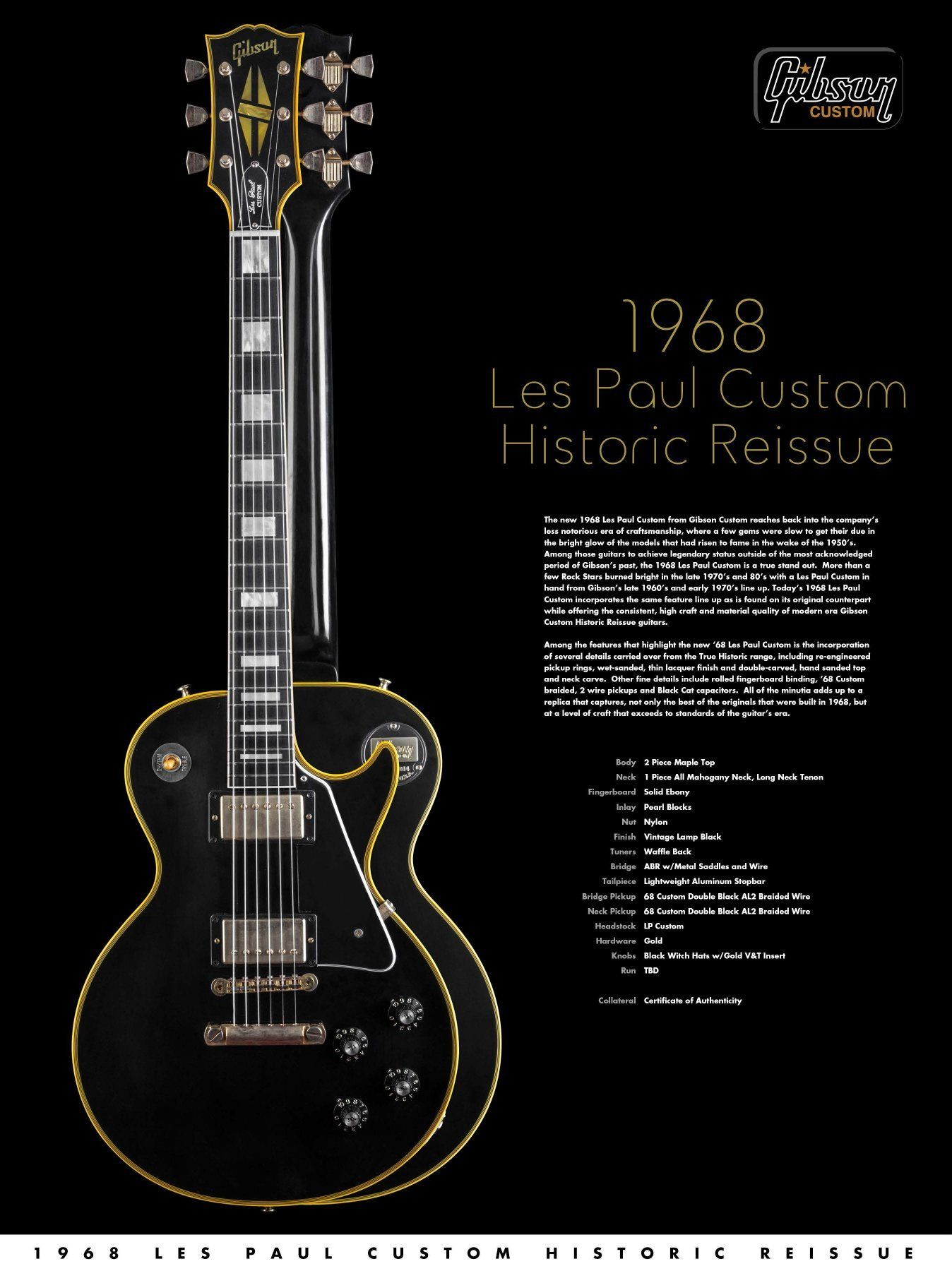 1968 Gibson Les Paul Custom Advertisement T 1958 Wiring Diagram