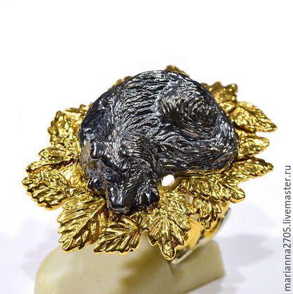 """Кольца ручной работы. Ярмарка Мастеров - ручная работа. Купить """"Осенняя грусть..."""" кольцо - миниатюра с грустной собакой. Handmade."""