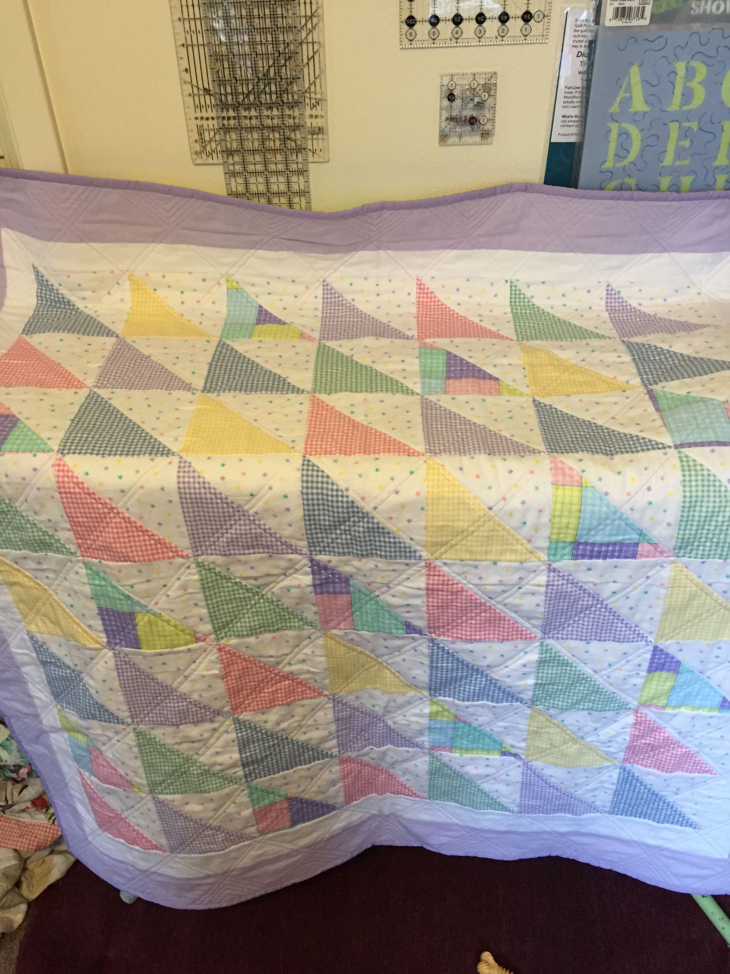 First baby quilt I made friend Tracy. This one for a girl. 2/2015