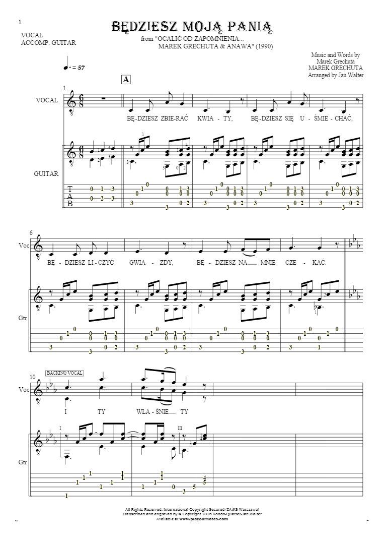 Bedziesz Moja Pania Notes Tablature And Lyrics For Vocal With